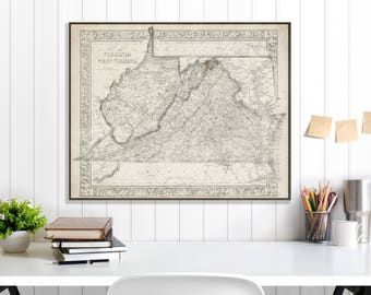 West Virginia State Map, West Virginia Map Canvas, Antiqued West Virginia Map, West Virginia Wall Decor, Map of West Virginia Canvas