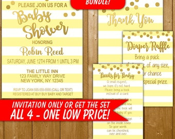 Baby Shower Invitation Yellow and Gold, Modern Baby Shower Invitation, Diaper Raffle, Books for Baby, Thank You, Neutral Shower Invitation