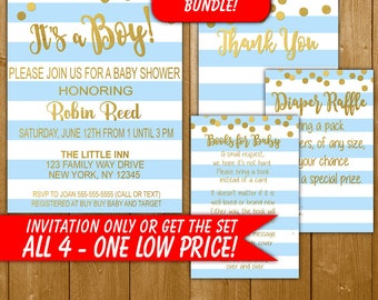 It's a Boy! Baby Shower Invitation Blue and Gold, Modern Baby Shower, Diaper Raffle, Books for Baby, Thank You, Boy Shower Invitation Set