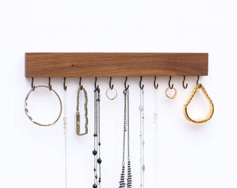 Mahogany Wood Wall Jewelry Organizer / Necklace Handmade Holder Hooks Key Holder Hanging Stand Rustic Decor / Best gift idea
