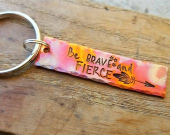 Hand stamped flame painted copper keychain. Inspirational keychain. Motivational gift. Get well soon gift. Recovery gift. Sympathy gift.