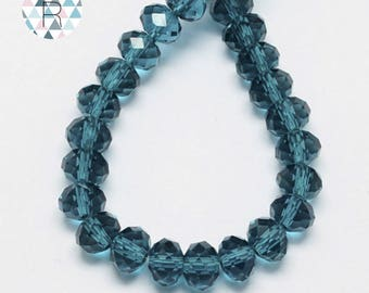 150 beads Ocean blue glass 4x3mm faceted / oval beads