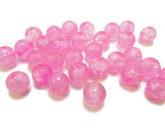 30 round pink 6mm Crackle glass beads / round beads