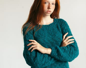 Dark Turquoise Sweater, Hand Knitted Sweater, Pure Wool Sweater, Soft Knitwear, Autumn Sweater