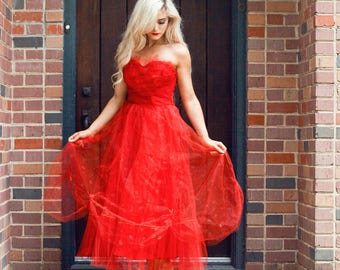 Vintage 1950's Red Tulle Prom Dress