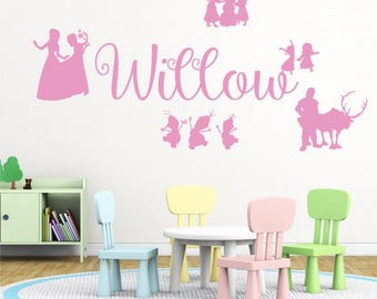 WD101074 | Personalised Name Girls Wall Art Sticker - Disney Frozen Inspired, Elsa, Anna Olaf, Kristoff