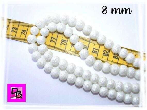 10 perles rondes nacrées mouchetées [Blanc] 8 mm