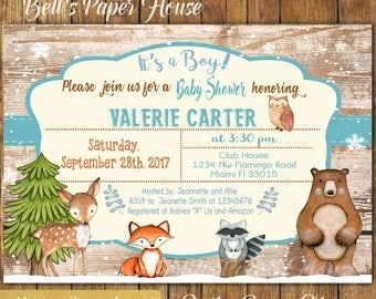 Digital file or Printed-Winter Woodland Baby Shower Invitation-Baby Boy Woodland Animals Invitation-Forest Baby Shower Invites-Free Shipping