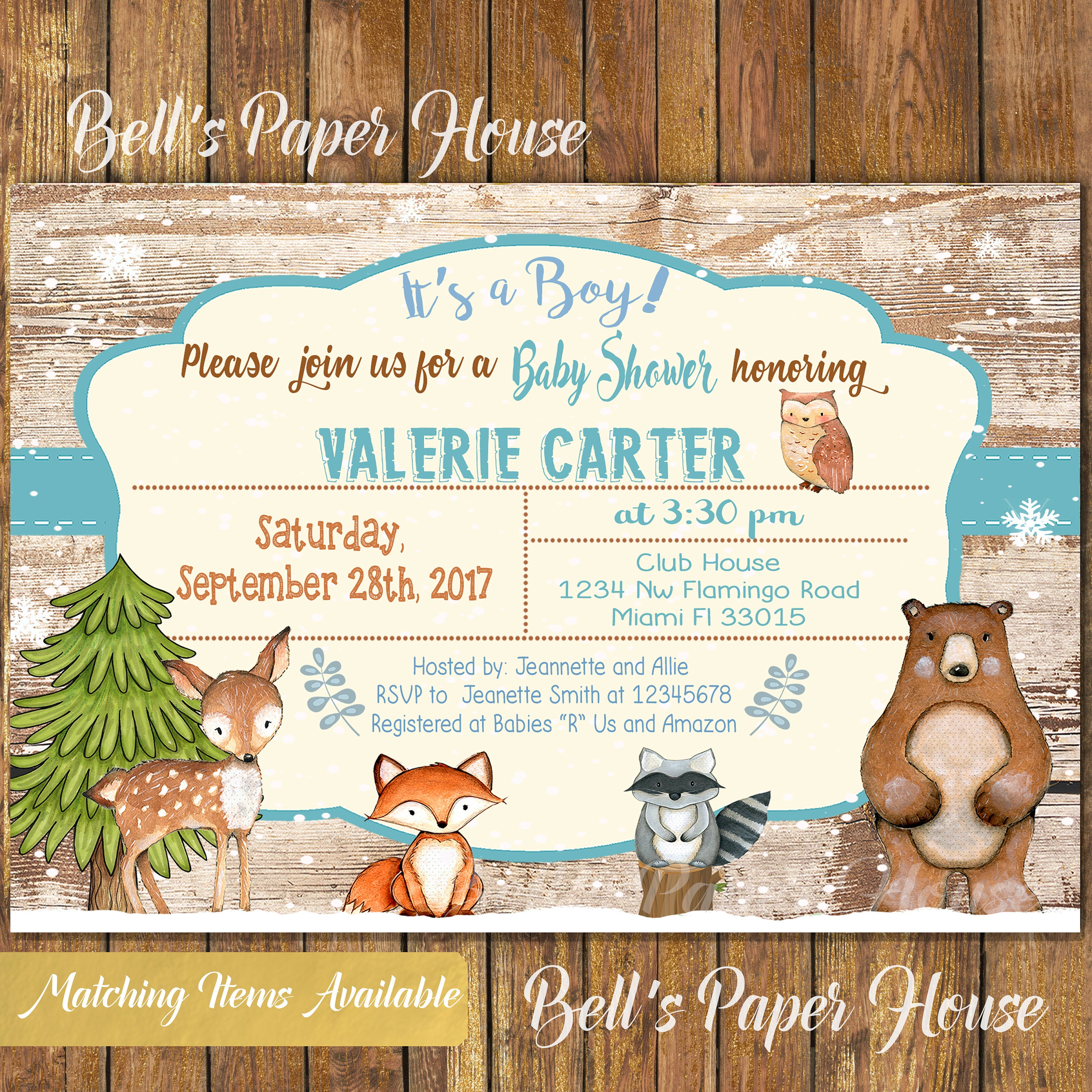 Digital file or printed winter woodland baby shower invitation baby digital file or printed winter woodland baby shower invitation baby boy woodland animals invitation filmwisefo