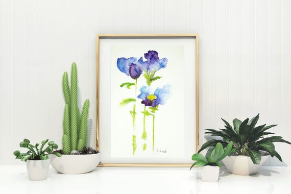 Iris, reproduction of author, delicate watercolor, thome raditional decore, bedroom, living, nursery, office, shop, art gift idea for her.