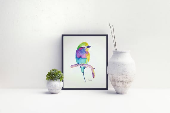Colored parrot, original watercolor by Francesca Licchelli, gift idea for birthday, modern and traditional decore, home office decoration.