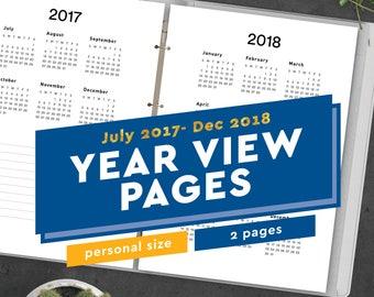 2017-2018 Year View Printable Personal Size Planner Inserts PDF Fits Filofax Personal, Kikki K Medium, Filofax Compact, 3.75 x 6.75 Planner