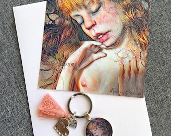 Door key + postcard Emerging from cocoon - Bibs Lovelypam
