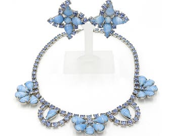 Light Blue Teardrop Porphyry Glass Rhinestone Necklace Earring Set
