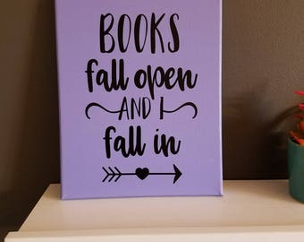 Books Fall Open Canvas Sign