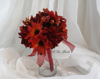 Burgundy Dahlia Bridal Bouquet, Dahlia and Sunflower Brides Bouquet, Fall Wedding Bouquet, Bridesmaid Bouquet, Burgundy and Orange Bouquet