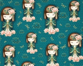 Yuna Kokeshi Cotton Fabric