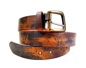 Leather Belt, Mens Leather Belt, Boho Vintage style Leather Belt, Birthday Gift, Gift for him, Fathers Day Gift
