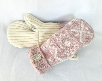Sweater Mittens, Wool Sweater Mittens, Recycled Sweater Mittens, Lined Sweater Mittens, Ballet Pink/mauve