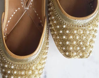 Gold Punjabi Jutti - Gold Slip On Ballet Flats - Indian Wedding Shoes, Indian Jewelry, Punjabi Juthi, Gold Flats with Pearls, Gold Shoes
