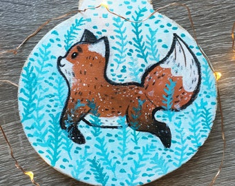 Jumping Fox Handpainted Ornament