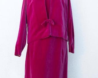 60s fuchsia Velvet Dress-Vintage women's suit-fuchsia velvet clothing
