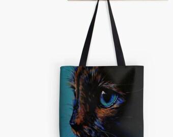 Turquoise tortie tote bag | tortoiseshell cat bag | blue cat shopping bag | blue cat handbag | blue cat shoulder bag | blue cat bag