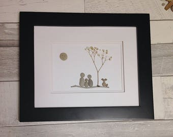 Pebble Art Family of Three with Dog ~ unique anniversary gift, newborn gift, housewarming gift, retirement gift, original family art gift