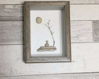 Single Person Pebble Art ~ unique birthday gift, housewarming gift, retirement gift, thoughtful gift, grandparent gift, unique original art