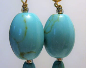 Robins egg blue, natural turquoise earrings