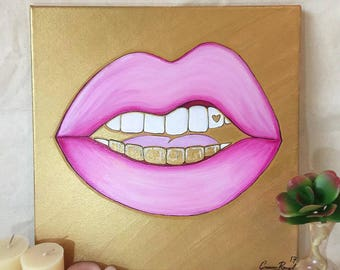Baby Pink Lip painting - gold grill