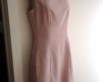 Vintage Pierucci Dusty Pink and Cream Office Dress