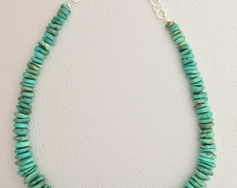 Genuine Turquoise Disc Necklace with Sterling Silver Clasp and Chain