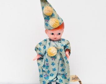 Vintage Hard Plastic Baby Clown Doll  - Blue/Yellow