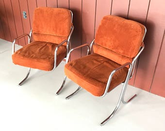 Mid century Cal-Style upholstered chrome occasional chairs