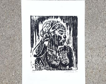 1984 Block Print of Woman by A.W. Tacke Ltd. Ed. 7/10