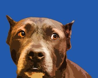 Dog CHARITY Art Print, Dog Portrait Print, Dog Lover art, Pitbull art, Dog Art Print, Animal Portrait, American bulldog art, Dog artwork