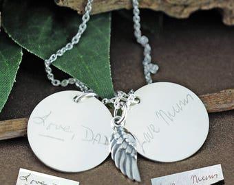 Handwritten Memorial Necklace, Custom Handwriting Jewelry, Actual Handwriting, Engraved Necklace, Signature Jewelry, Memorial Jewelry