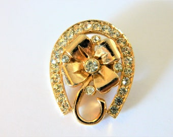Vintage Horseshoe Flower Brooch Rhinestone Gold Tone, Flower Pin, Horseshoe Pin, Coat Pin, Sweater Pin, Retro Brooch, Costume Jewelry