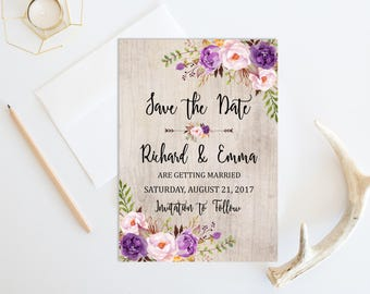 Purple Rustic Printable Floral Boho Save the Date Card, Boho Save the Date, Lilac Floral Save the Date, Bohemian, Arrows, Download, 121-A
