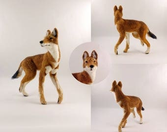 Ethiopian Wolf- needle felted soft sculpture, needle feting figure