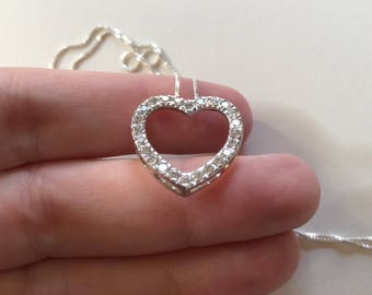 Vintage White Cubic Zirconia 925 Sterling Silver Open Heart Pendant Necklace