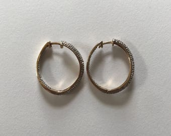 Vintage 925 Sterling Silver Gold Vermeil Studded Illusion Wavy Curved Hoop Earrings