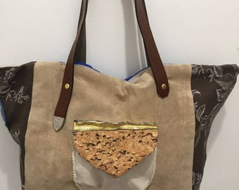 Large prince leather printed canvas tote