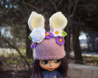 Blythe Bunny hat with violets Blythe Doll Clothes Pink Cap Blythe Outfit  Hare Hat Rabbit hat Blythe Bunny hat Beanie for Blythe