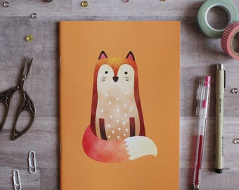 NOTEBOOK. A5 Cute Fox Notebook. Soft 300 gsm Card Cover. 40 lined pages. Matte lamination pleasant to the touch.