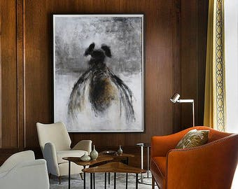Large wall art, Abstract Painting, Original Art, Oil painting, Acrylic painting, Canvas art, Large canvas art, Black and white Painting, Bee
