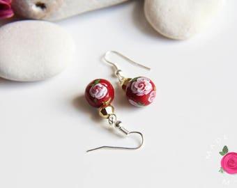 Dangling earrings balls - SECRET GARDEN - molded and handpainted - Red Queen