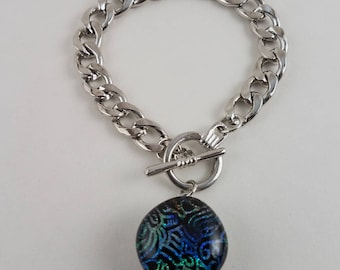 Fused Glass Snap Bracelet - Handmade Dichric Patterned Glass with Toggle Closure