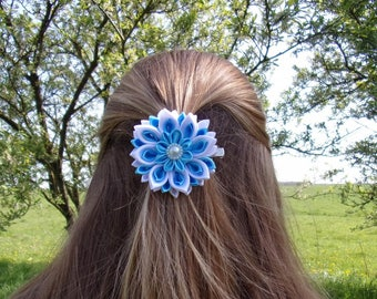 Hair clip flower blue and white/kanzashi/satin ribbon/kanzashi flower hair clip